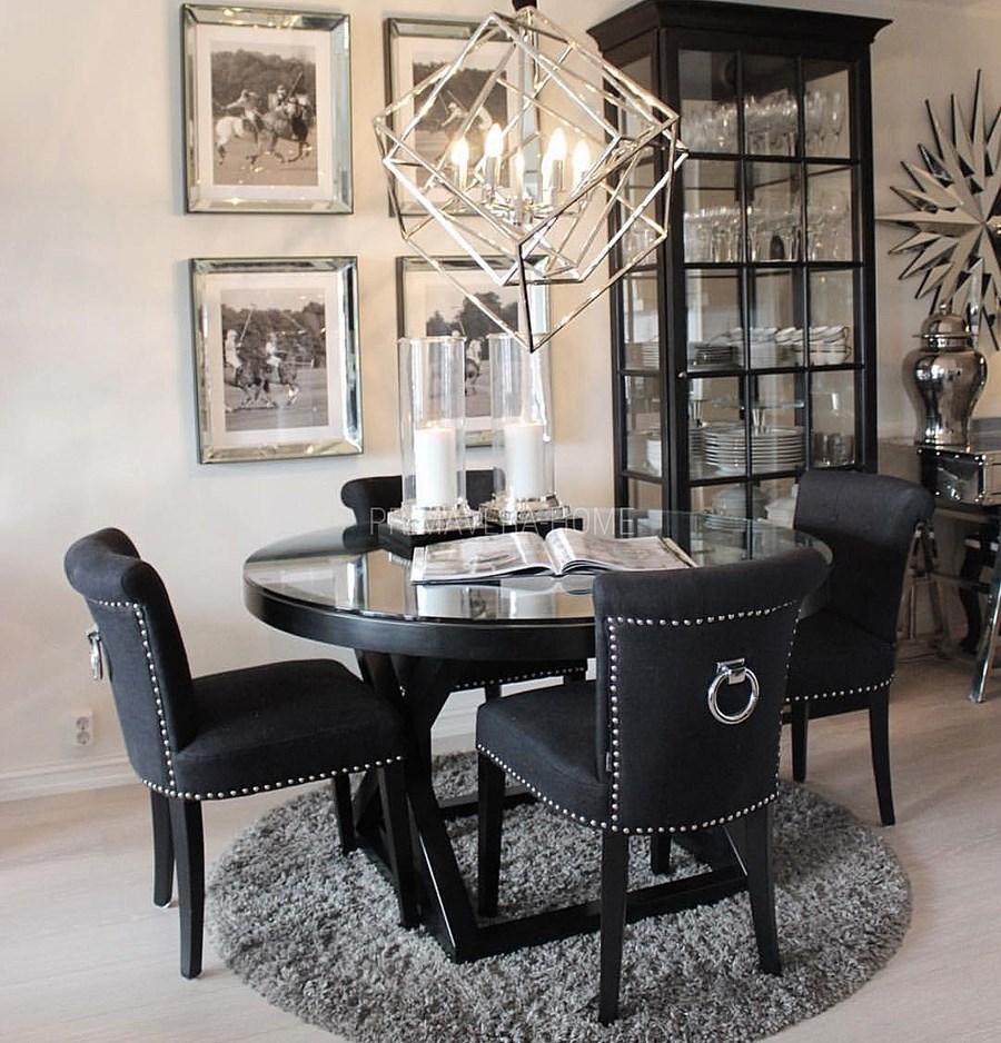 Krzesło Tapicerowane Nowoczesne Z Kołatką Do Salonu Jadalni Czarne
