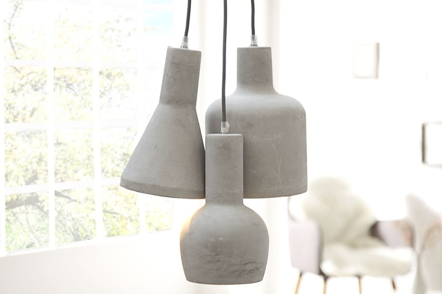 Pendant Lamp Concrete 3 Klosze Gray Lampy Wiszące Zdjęcia