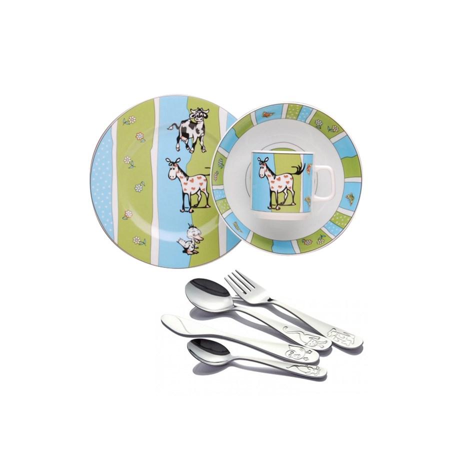 Komplet Obiadowy Dla Dzieci Porcelana Lubiana Farma Sztućce Odiso
