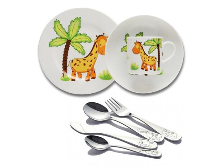 Komplet Obiadowy Dla Dzieci Porcelana Lubiana żyrafa Sztućce Odiso