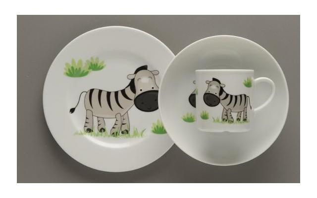 Zestaw Obiadowy Dla Dzieci Lubiana Zebra Porcelana 3 Elementy