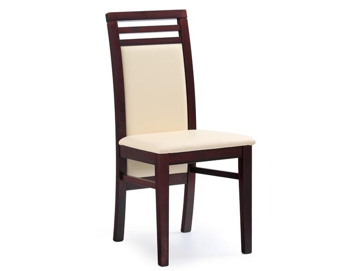 Krzesło Drewniane Z Obiciem Z Ekoskóry Sylwek 4 Ciemny Orzech
