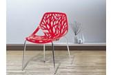 Krzesło ogrodowe - plastikowe czerwone - krzesło z tworzywa sztucznego - chromowane nogi - BLEEKER