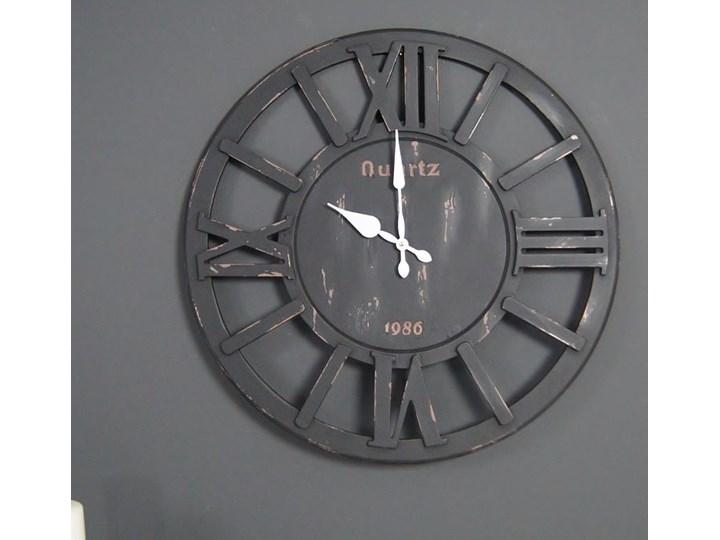 Drewniany zegar ścienny, styl rustykalny. Metal Drewno Okrągły Styl Industrialny
