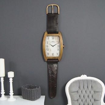 Metalowy zegar ścienny, zegarek na pasku.