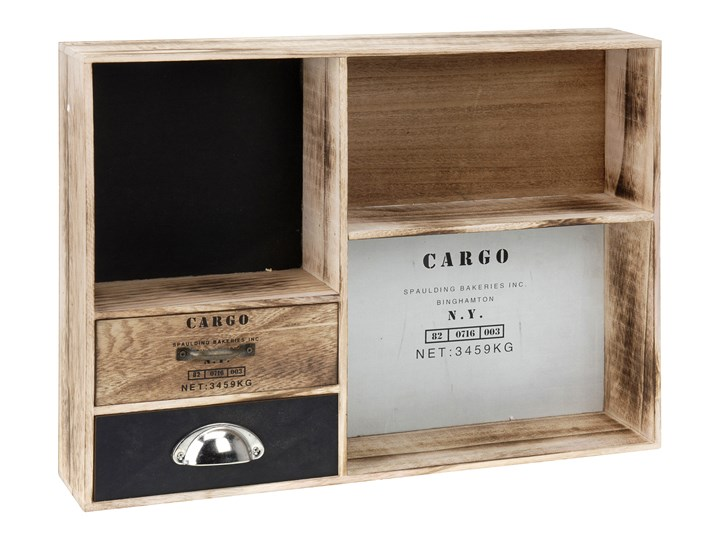 Organizer na drobiazgi CARGO - schowek z 2 szufladkami i 3 przegródkami Przybornik na biurko drewno płyta MDF