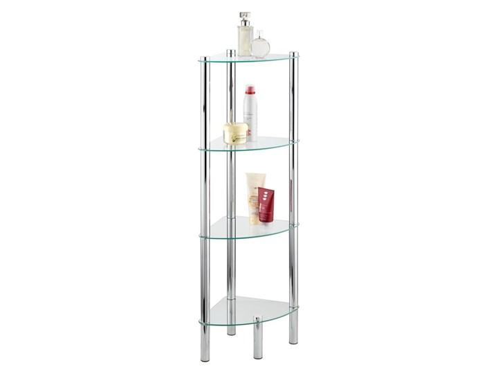 Narożna półka łazienkowa YAGO, szklana - 4 poziomy, WENKO Czteropoziomowe Narożne Szkło Metal