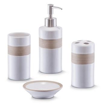 Ceramiczny zestaw akcesoriów łazienkowych BEIGE - 4 sztuki w komplecie, ZELLER