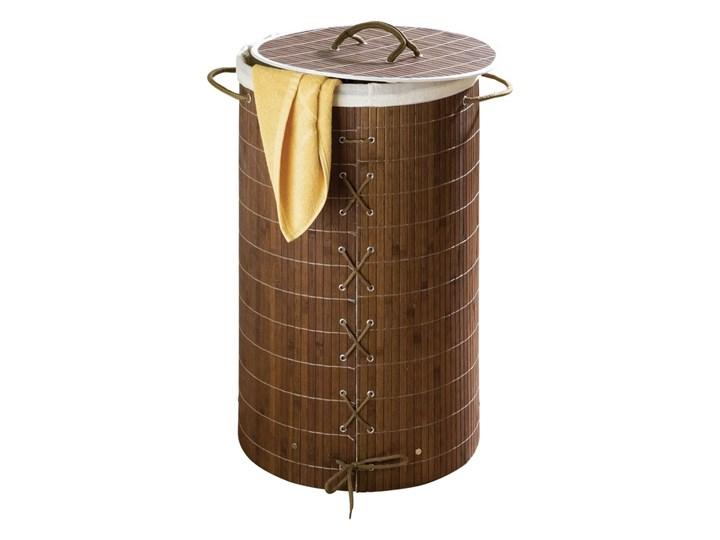 Bambusowy kosz na pranie, ciemny brąz, 55 litrów, WENKO Drewno Tkanina Styl klasyczny