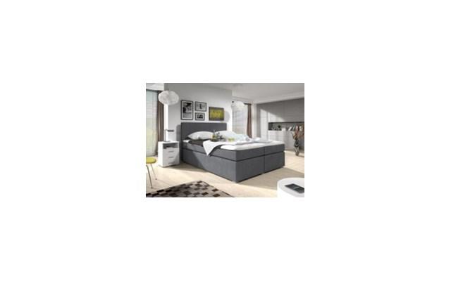 łóżko Kontynentalne Simple Tapicerowane Szare 140x200 160x200