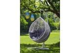COCO huśtawka ogrodowa cocoon 105X120X200 cm biało-szara do ogrodu z poduszka NR 105