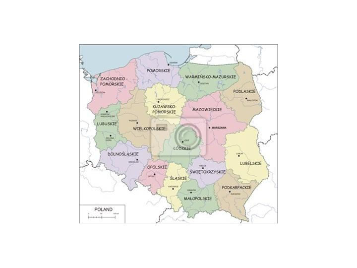 Naklejka Contour Mapa Polski Z Wojewodztw Rzeki I Jeziora