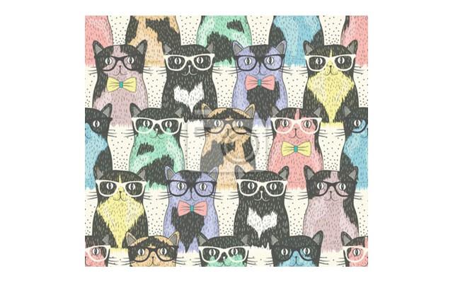 Fototapeta Koty W Okularach Dla Prawdziwego Hipstera Fototapety