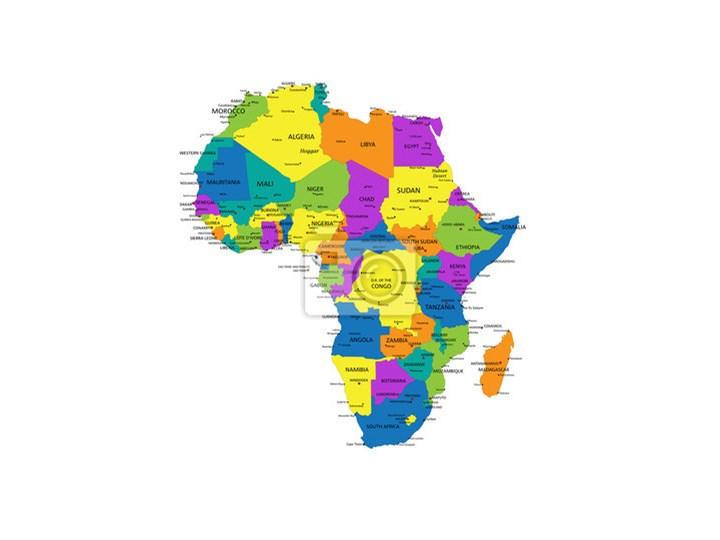 Obraz Kolorowe Afryka Mapa Polityczna Z Wyraznie Oznakowanych