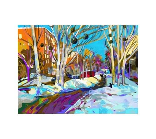 Obraz Oryginalny Cyfrowy Obraz Zimowy Pejzaż Nowoczesne
