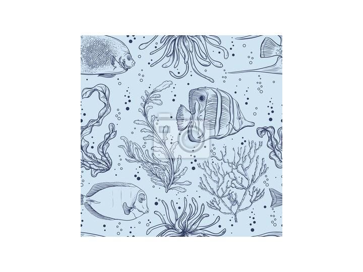 Plakat Jednolite Wzór Z Tropikalnych Ryb Roślin Morskich I Wodorostów Vintage Ręcznie Rysowane Ilustracji Wektorowych życie Morskie Projektowanie