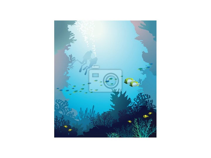 Plakat Rafa Koralowa I Nurków Podwodny
