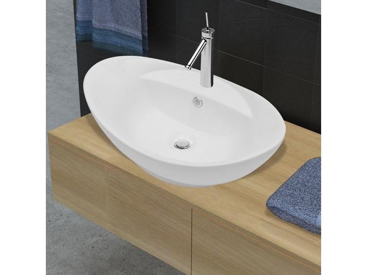 vidaXL Luksusowa umywalka owalna z otworem przelewowym i na baterię Owalne Ceramika Kategoria Umywalki