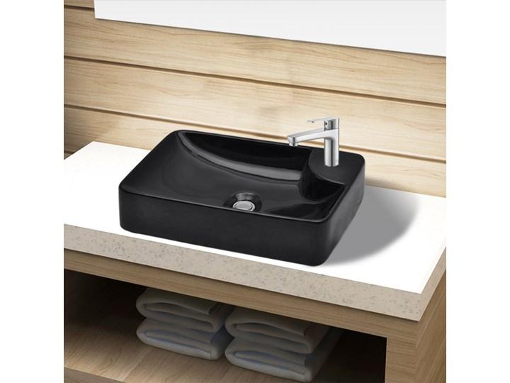 vidaXL Ceramiczna umywalka z otworem na kran, czarna Kolor Czarny Ceramika Kategoria Umywalki