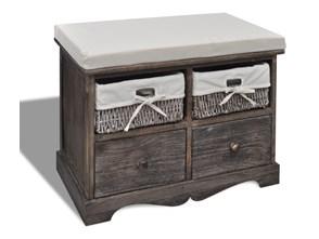 240791 Ławka drewniana z 4 szufladami oraz poduszką (brązowa)