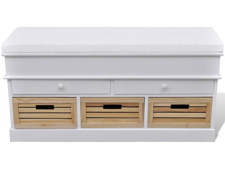 vidaXL Ławka z poduszką, 2 szufladami i 3 koszami, biała Pomieszczenie Salon