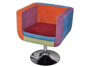 240813 Patchworkowy fotel, kostka z regulowaną wysokością