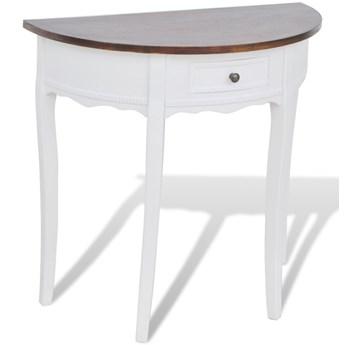 vidaXL Półokrągły stolik typu konsola z szufladą i brązowym blatem