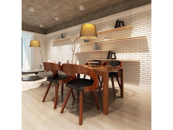 vidaXL Krzesła stołowe, 4 szt., brązowe, gięte drewno i sztuczna skóra Głębokość 44 cm Skóra ekologiczna Szerokość 52 cm Wysokość 76 cm Tapicerowane Tkanina Tworzywo sztuczne Płyta MDF Krzesło inspirowane Szerokość 48,5 cm Pomieszczenie Jadalnia