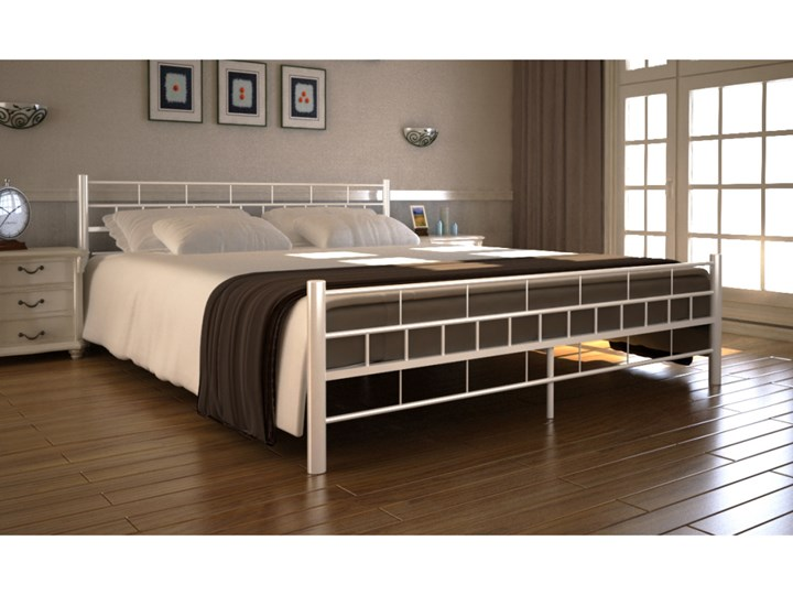 Vidaxl Białe Metalowe łóżko 180 X 200 Cm Materac Z Pianki Anatomicznej