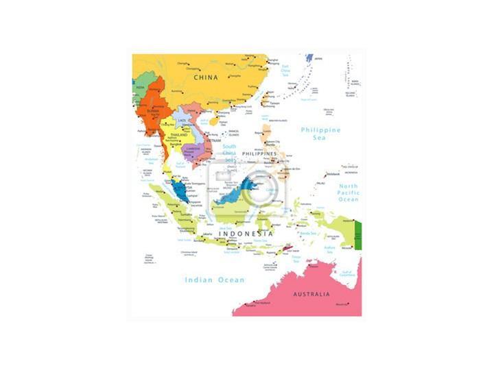 Fototapeta Azji Poludniowo Wschodniej Mapa Polityczna Na Bialym