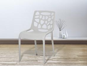 Krzesło ogrodowe - plastikowe jasnoszare - krzesło z tworzywa sztucznego - MORGAN