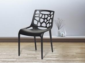 Krzesło ogrodowe - plastikowe czarne - krzesło z tworzywa sztucznego - MORGAN