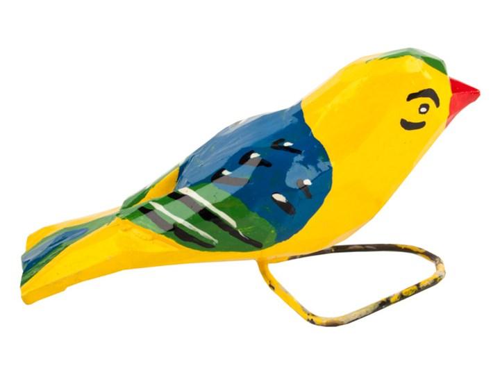 Tradycyjna rzeźba ludowa - mały folk ptaszek żółto - niebieski