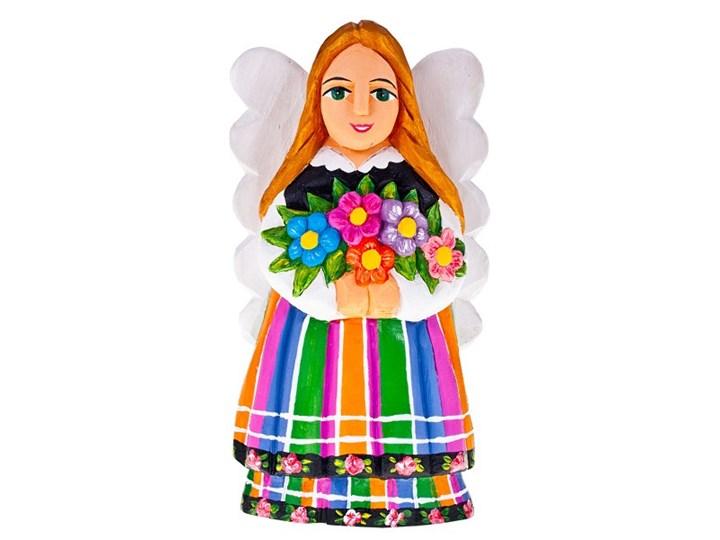 Rzeźba ludowa - anioł łowicki z kwiatami - 25 cm