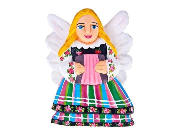 Drewniana rzeźba ludowa - aniołek w stroju łowickim z akordeonem - 16 cm