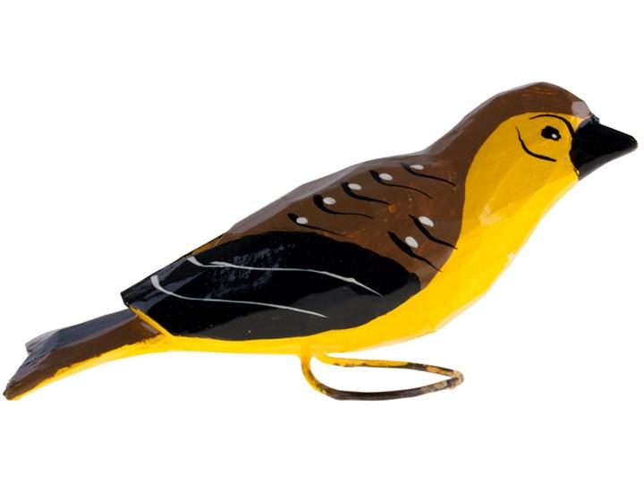 Tradycyjna rzeźba ludowa - duży folk ptaszek żółto - brązowo - czarny