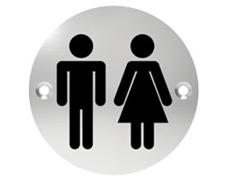 Oznaczenie informacyjne na drzwi, piktogram WC - TOALETA, przykręcane, stal nierdzewna