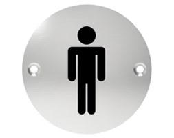 Oznaczenie informacyjne na drzwi, piktogram TOALETA MĘSKA, przykręcane, stal nierdzewna