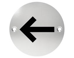 Oznaczenie informacyjne na drzwi, piktogram STRZAŁKA, przykręcane, stal nierdzewna