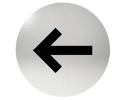 Oznaczenie informacyjne na drzwi, piktogram STRZAŁKA, przyklejane, stal nierdzewna