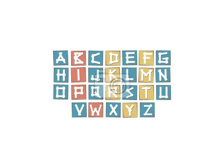 Plakat Zestaw Kolorowych Wielkich Liter Alfabetu Na Placu Z Ramą