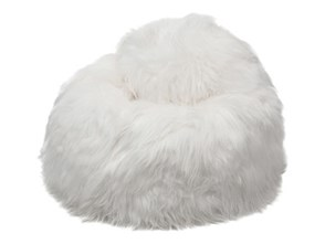 Puf ze skóry owczej z długim włosiem White