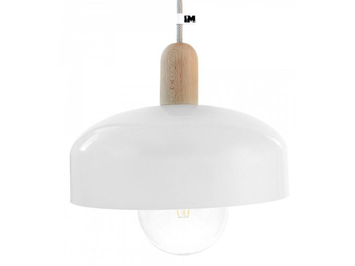 Lampa skandynawska z kloszem i lnianym przewodem Lampa inspirowana drewno Tkanina Styl klasyczny Lampa LED Metal Styl industrialny