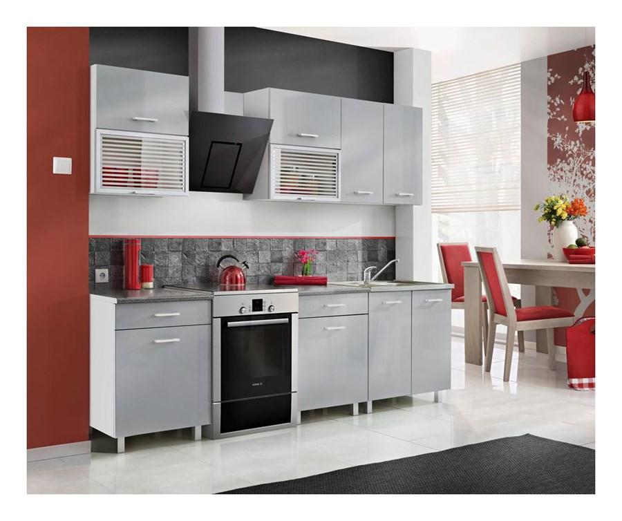 Zestaw mebli kuchennych FIONA kolor szary połysk MEBLE   -> Castorama Kuchnia City Biala