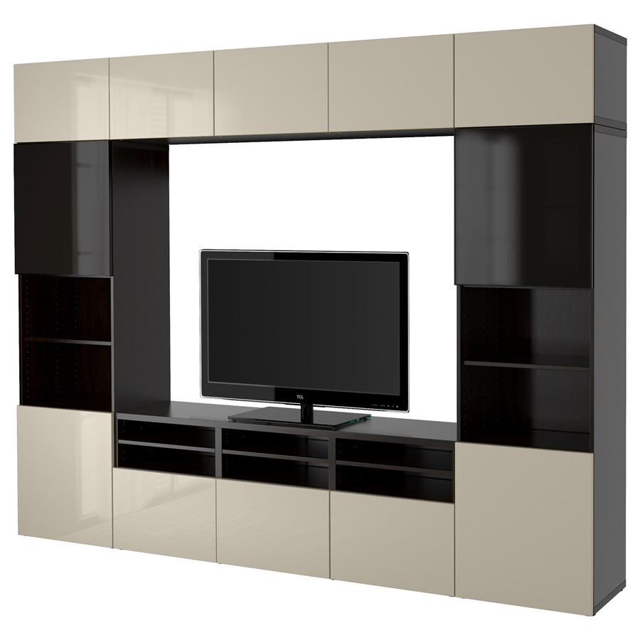 best kombinacja na tv szklane drzwi czarnybr z selsviken wysoki po ysk be przydymione szk o. Black Bedroom Furniture Sets. Home Design Ideas
