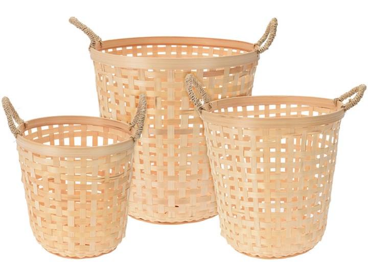 Okrągły kosz bambusowy na pranie - 3 sztuki w zestawie Styl klasyczny