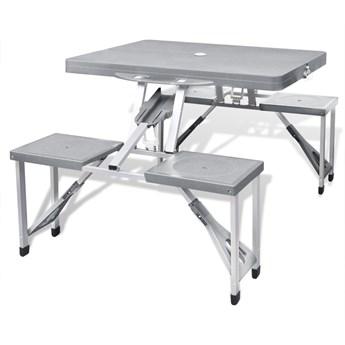 vidaXL Zestaw kempingowy stół+krzesła aluminium kolor szary