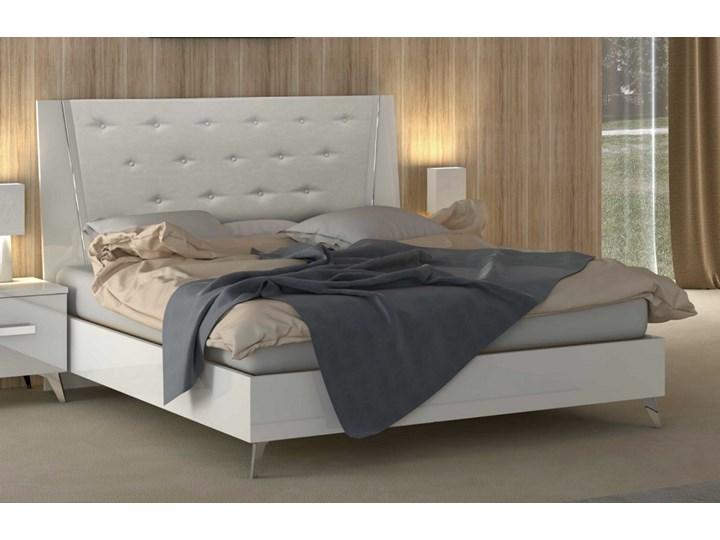 łóżko Aura White 160 Biały Lakier I Tapicerowane Wezgłowie
