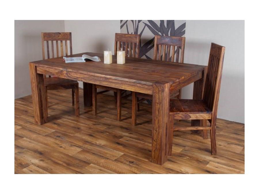 Stół Drewniany Jadalniany 180280 Cm Pu Brown Stoły Kuchenne