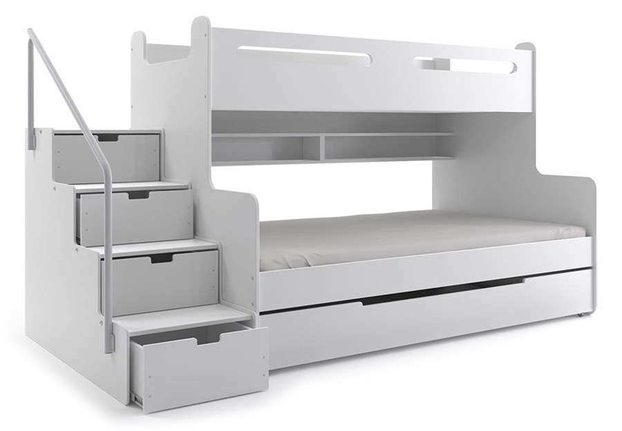łóżko Piętrowe Max 3 Trzyosobowe Białe łóżka Piętrowe